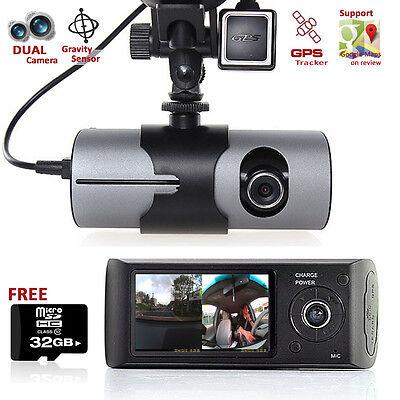 Dashcam 2 7  Lcd Dual Camera Lens Car Dvr Gps Tracker On Google Map   Free 32Gb