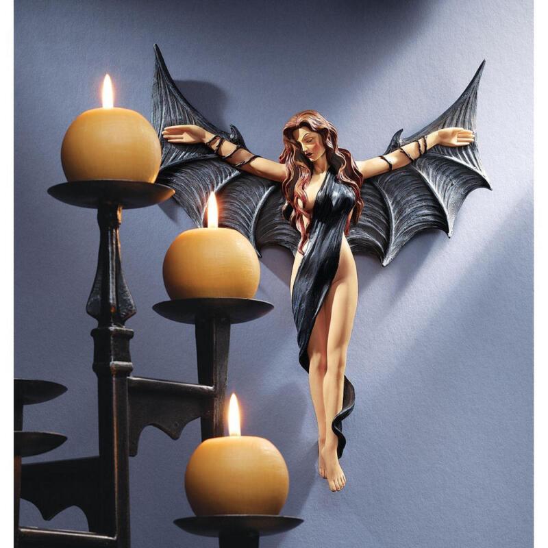 Midnight Sexy Temptress Vampire Wall Sculpture Gothic Woman Halloween Prop