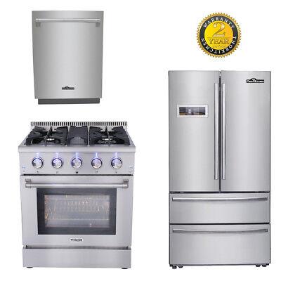 "30'' Gas range +24'' dishwasher 36"" THOR KITCHEN Depth Stainless Refrige Package"