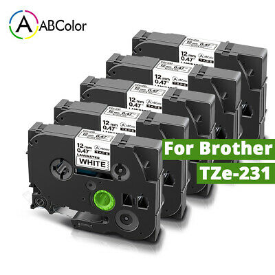 5 Pk Tz-231 Tze-231 Pt-d210 Compatible Label Maker Tape 12mm For Brother P-touch