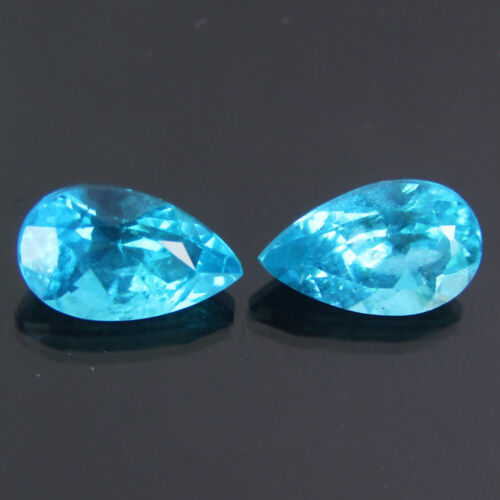 1.54CTS EXQUISITE NEON BLUE NATURAL APATITE PEAR 7.4x4.5 MM 2PCS LOOSE GEMSTONE