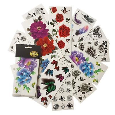 Colorful Butterfly Tattoos (Butterfly Temporary Tattoos (Pack of 12 Sheets) Colorful 3D Flower)