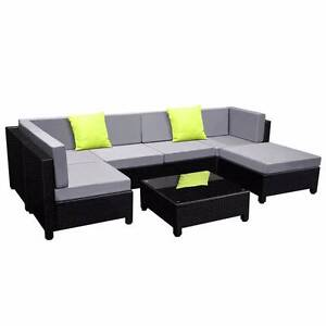 7 pcs Black Wicker Rattan 6 Seater Outdoor Lounge Set Grey Croydon Burwood Area Preview