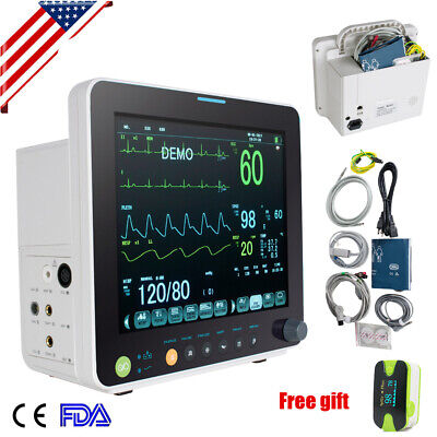 Portable 6 Paras Vital Signs Patient Monitor Ecgnibpspo2tempresppr Case Us