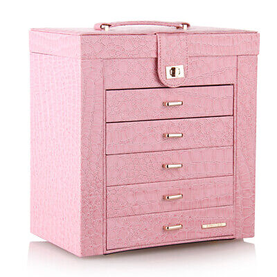 Pink Large Jewelry Box Rings Cabinet Necklace Organizer Storage Mirror Gift 231