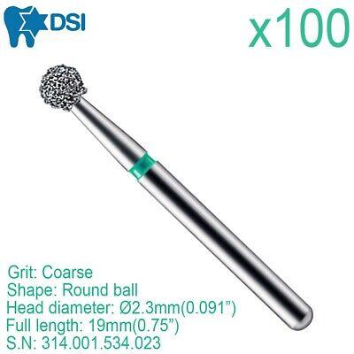 100x Dsi Dental Round Ball 0.23 Fg Diamond Burs Drill For High Speed Handpiece