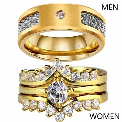 Couple Ring Wire rope Titanium Mens Ring Yellow Gold Filled Women's Wedding Ring Gold Filled Wire Ring