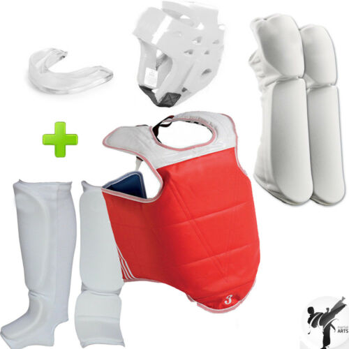 New! Sparring Taekwondo, Karate Competition Full Gear Set w/ Mouthguard.