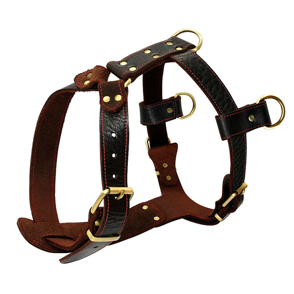 Real Genuine Leather Dog Harnesses Soft Heavy Duty Dog