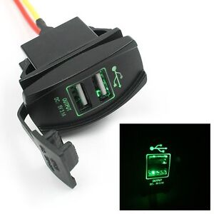 Power DC 12V-24V Dual USB Car Charger Carling ARB Rocker Switches 5V 3.1A GREEN