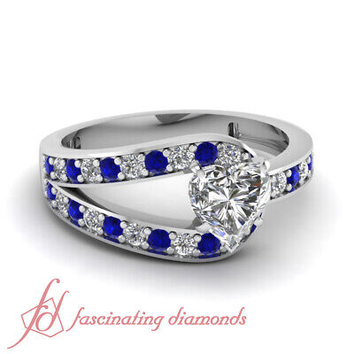 Pave Set 0.70 Ct Heart Shaped VVS2 Diamond & Blue Sapphire Engagement Ring GIA