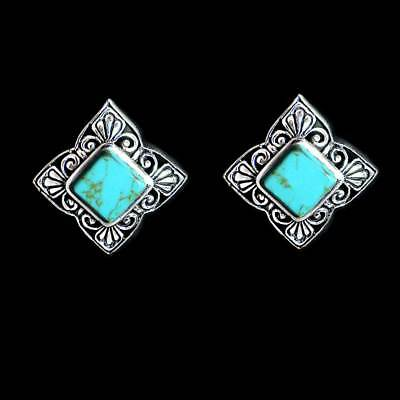 DIAMOND SHAPE TURQUOISE POST EARRINGS w/FILIGREE BORDER__925 STERLING SILVER