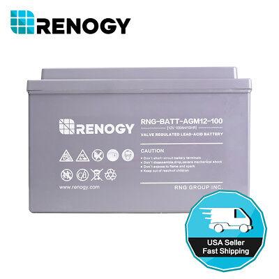 Renogy Lost Cycle AGM Battery 12 Volt 100Ah Battery Solar Puissance Storage