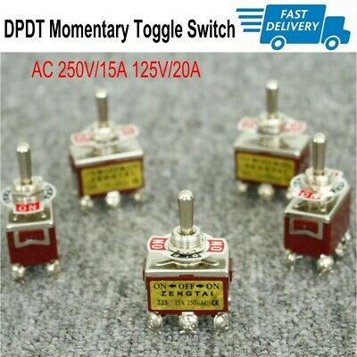 5pcs Dpdt Toggle Switch Momentary 3 Position Onoffon Ac 250v15a 125v20a Us