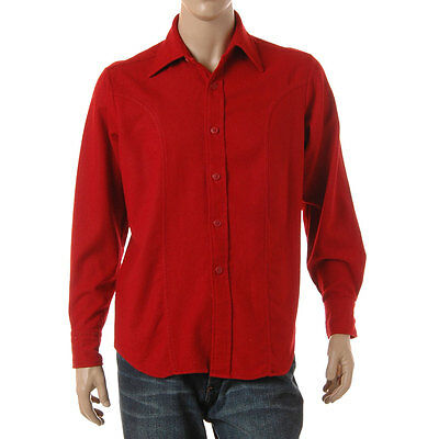 Vintage 1970S Red Wool Blend Mens Long Sleeve Shirt Brent Montgomery Ward Medium