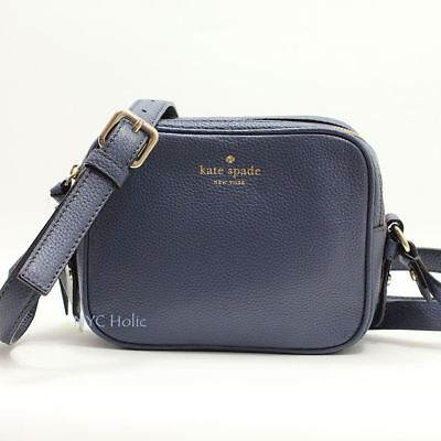 Kate Spade New York Mulberry Street Pyper Pebbled Leather Crossbody Diver Blue