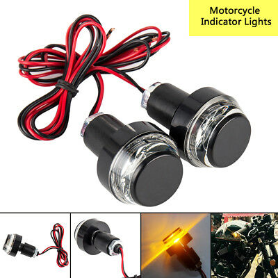 2PCS Motorcycle Turn Signal LED Light Indicator Handle Bar End Handlebar