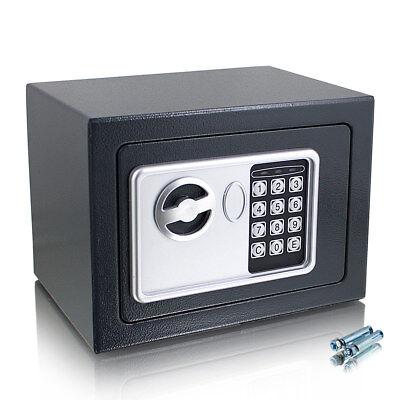 Kleiner elektronischer Mini Safe Tresor Schranktresor mit Zahlenschloss Grau (Safe Mit Zahlenschloss)