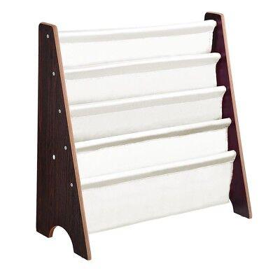 Wood Kids Bookcase Book Shelf Sling Storage Rack Organizer Display Holder Walnut