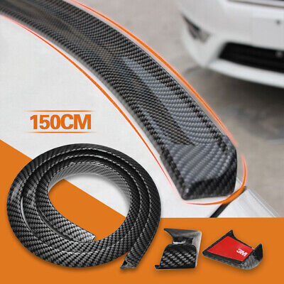 Universal 4.9ft Carbon Fiber PU Car Rear Roof Trunk Spoiler Wing Lip Sticker Kit