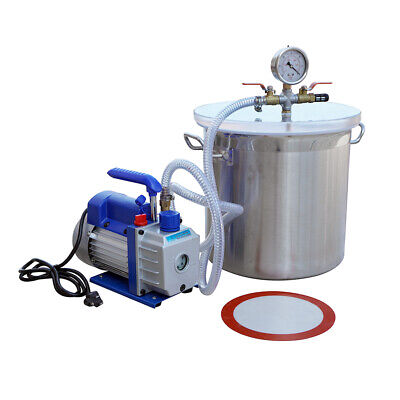 110v 5 Gallons Vacuum Chamber With 5cfm Single Stage Pump Degassing Silicone Kit