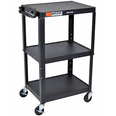 Luxor AVJ42 Steel Adjustable Height AV Cart, 3 shelves, Black New