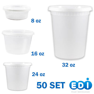 50 sets - 8, 16, 24, or 32 ounce Round Deli Containers Microwavable with Lids - Plastic Containers With Lids