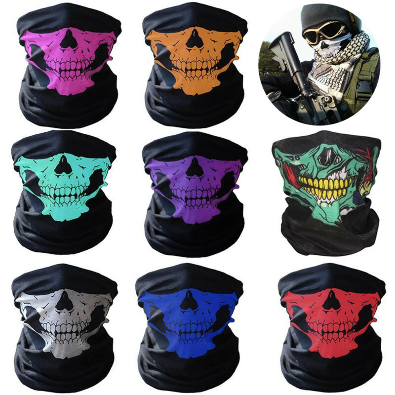 8 Pcs Half Face Mask Breathable Skull Dustproof Windproof Bike Motorcycle Racing