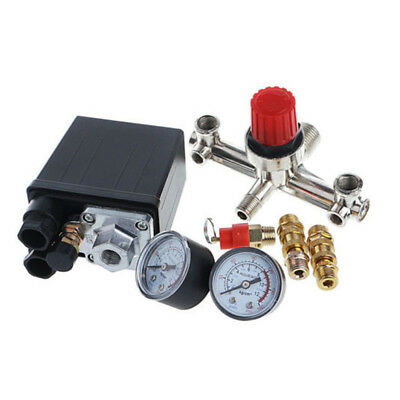 Air Compressor Pressure Control Switch Valve Manifold Regulator Gauges Relief At
