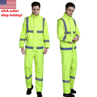 double layer Reflective Rain Jacket SET Suits Working Safety Clothing free pants Double Layer Jacket