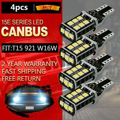 4X LED White Reverse Light Canbus Error Free 912 T15 W16W Backup Bulb 2400LM 921