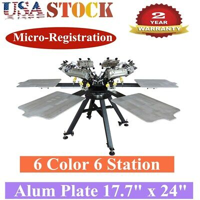 6 Color 6 Station Micro-registration Screen Printing Machine Pallet 17.7 X 24