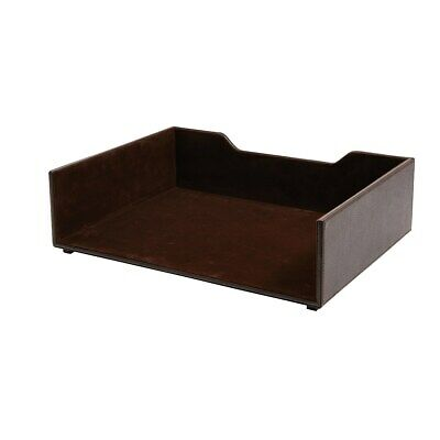 Staples Stackable Letter Tray Faux Leather Brown 2735097 Brown Leather Letter Tray