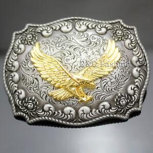 Western Antique Silver Engraved Flower Gold Bird of Prey 3D Eagle Belt Buckle