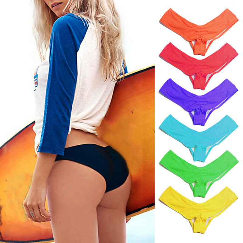 US Brazilian Womens V Thong Cheeky Ruched Bikini Bottom Swimwear Beachwear CO