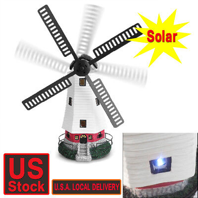 Solar Windmill - Windmill Lighthouse Spinner Solar powered Garden Lawn LED Lamp Lights Decor Gift