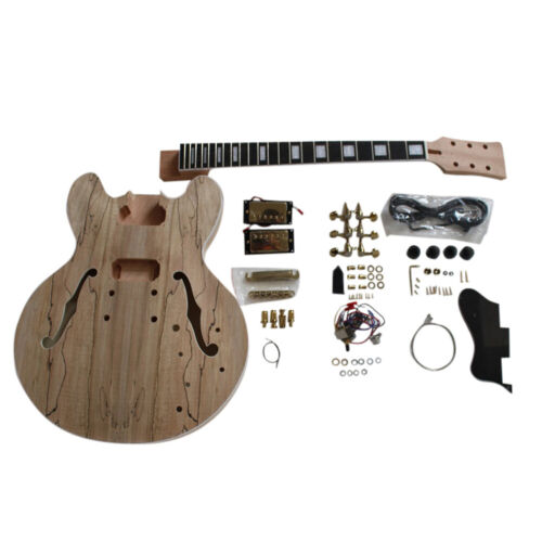 Coban Gutars DIY Guitar Kit ES260 Spalted Maple Veneer Gold Fitting NO Soldering