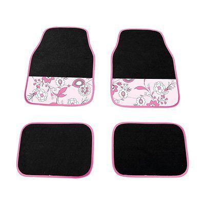 Universal Non slip Full Carpet Nature Pink Flower Car Mats 4PCE For All Models