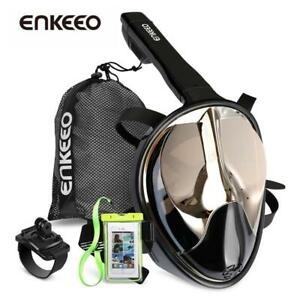 Enkeeo Full Face Snorkel Mask with 180 Panoramic View Watertight and Anti-Fog