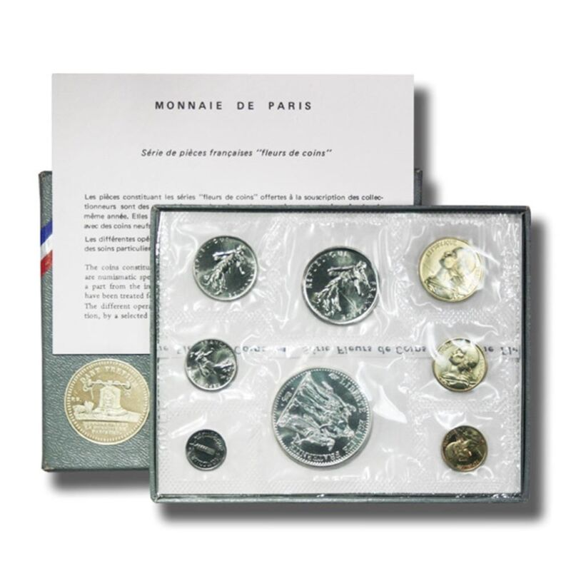 France Monnaie de Paris Official Specimen FDC Set 8 Coins 1973 Mint Box & COA SS