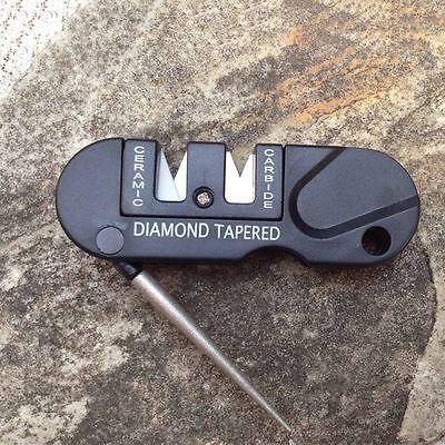Diamond Taper Sharpener (NEW Outdoor Pocket EDC Folding Ceramic Carbide Diamond Tapered Knife Sharpener )
