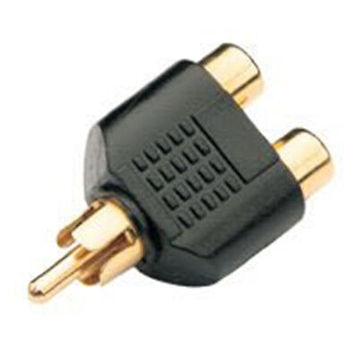 RCA Y Splitter AV Audio Video Plug Converter 1-Male to 2-Female Cable Adapter F1
