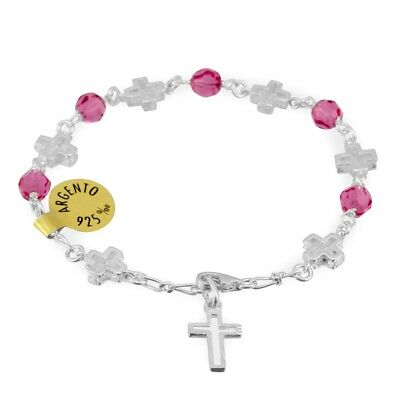 Pink Swarovski Crystal Beads Rosary Bracelet with Sterling Silver Crosses