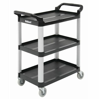 Hubert Cart 3 Shelves 9700610 Black Plastic 33 L X 16 1316 W X 37 H Open Box