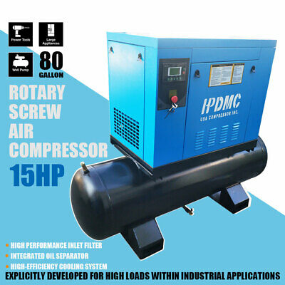 15hp Rotary Screw Air Compressor 230v 3 Phase 150psi 56cfm With 40 Gal. Tank
