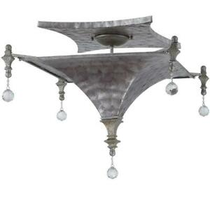 New  Yosemite Home decor CL103SF-3GR Capiz 3-Light Incandescent Semi-Flush Mount with Gray Cap DI15