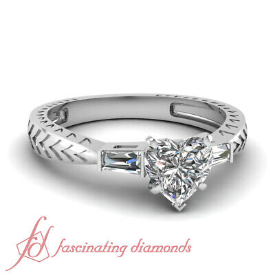 Tapered Engraved Shank Heart Baguette 3 Stone Diamond Engagement Ring 0.85 - 3 Stone Tapered Ring