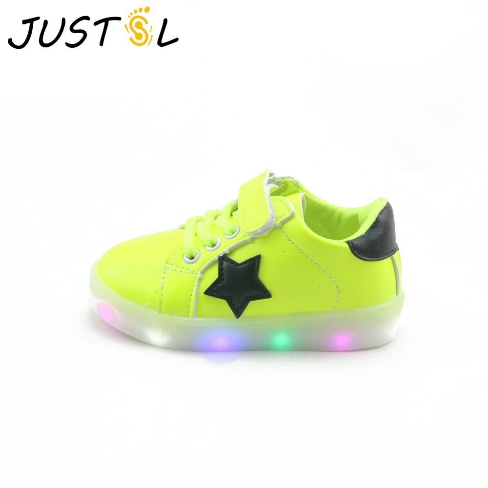 JUSTSL  Solid Led shoes for kids outdoor children's light fashion sneakers baby
