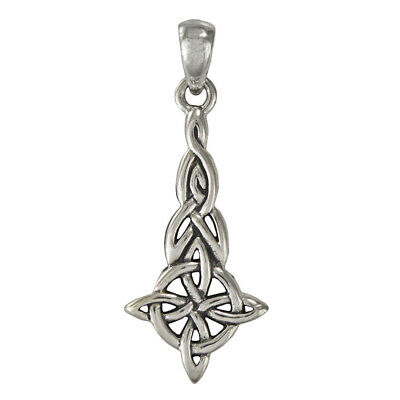 - Sterling Silver Quaternary Witches Celtic Knot Pendant - Wicca Pagan Jewelry