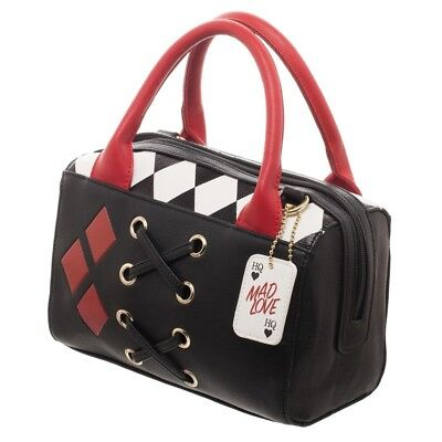 DC COMICS HARLEY QUINN JRS DOTTIE MINI HANDBAG LACE UP DOME SATCHEL PURSE BOWLER, used for sale  Shipping to India
